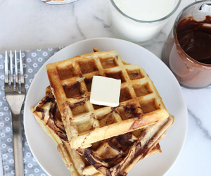 food, nutella, and waffles image