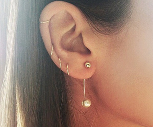 ear ring, pircing, and fashion image