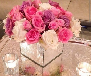 flowers, rose, and candles image