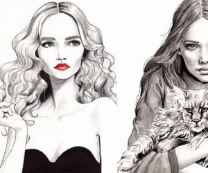 black and white, dessin, and fashion image