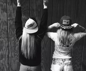 best friends, black and white, and girls image