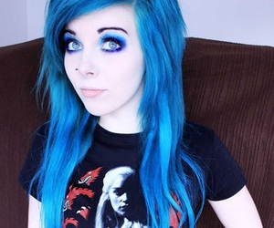 blue eyes, emo, and blue hair image