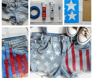 diy, shorts, and flag image