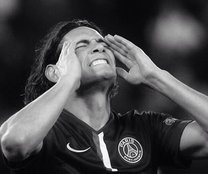 black and white, football, and cavani image