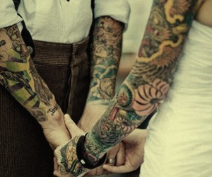 tattoo, love, and couple image