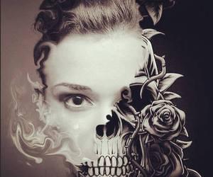 skull, art, and girl image