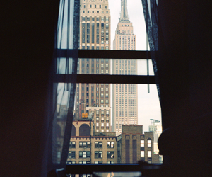 city, new york, and window image