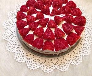 cake, strawberries, and classy image