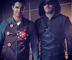 arrow, the flash, and robbie amell image