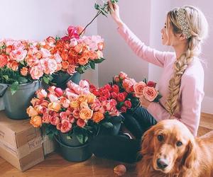 flowers, girl, and dog image