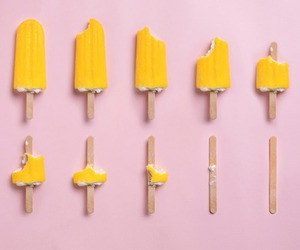 yellow, pink, and ice cream image