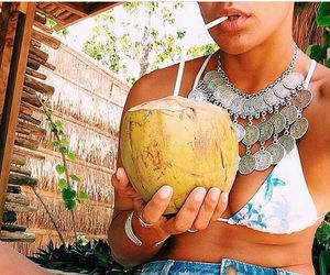 girl, coconut, and summer image
