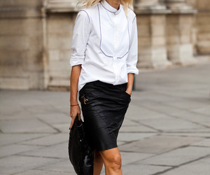 androgyny, leather skirt, and white shirt image