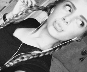beauty, black&white, and braid image
