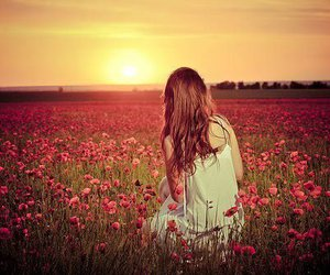 girl, flowers, and sun image