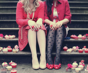 girl, red, and cupcake image