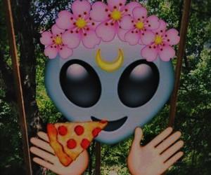 pizza, emoji, and alien image