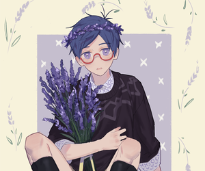 anime, flowers, and stare image