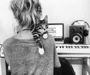 cat, black and white, and nina nesbitt image
