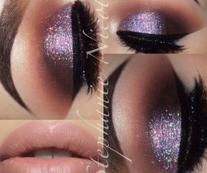 cool makeup, lilac, and sparkly image