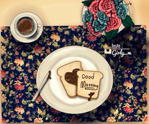 coffe, flowers, and toast image