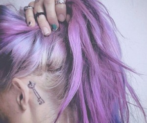 hair, tattoo, and purple hair image