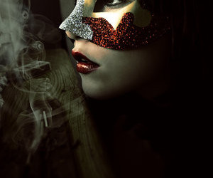 mask, girl, and red image