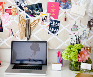 desk, room, and flowers image