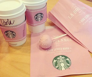 pink, starbucks, and coffee image