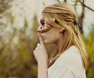 girl, mask, and blonde image