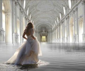 dress, water, and white image