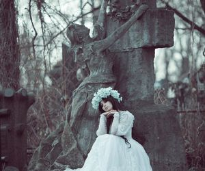 cemetery, girl, and grave image