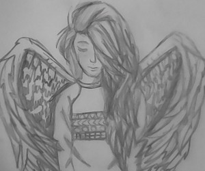 angel, draw, and girl image