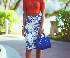 fashion, blue, and orange image
