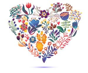 floral, flower, and heart image