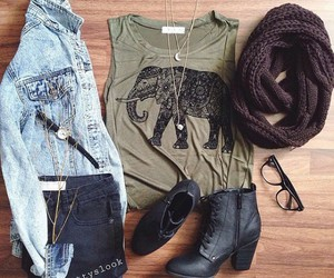 boots, elephant, and outfit image