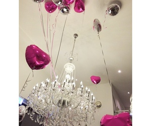 balloons, beauty, and chandelier image