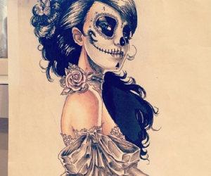 day of the dead, drawing, and girl image