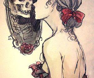 caveira, desenho, and girl image