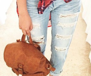 ripped jeans, brown backpack, and light blue ripped jeans image