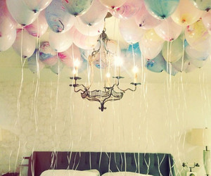 balloons, room, and bed image