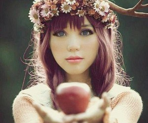 girl, apple, and flowers image