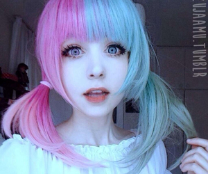 kawaii, hair, and blue image