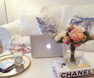apple, chanel, and flowers image