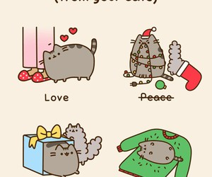 cat, pusheen, and christmas image