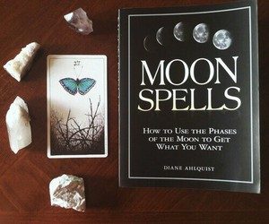 book, crystal, and moon image