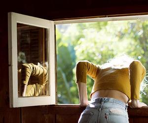 girl, vintage, and window image
