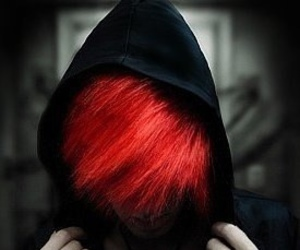 hair, red hair, and black image