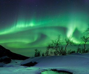 aurora, beautiful, and green image