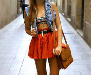 brunette, clothes, and skirt image